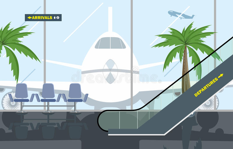 Vector illustration. Hall Airport royalty free stock photography