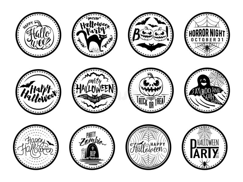 Vector illustration of halloween Badges and Design Elements with symbols stock illustration