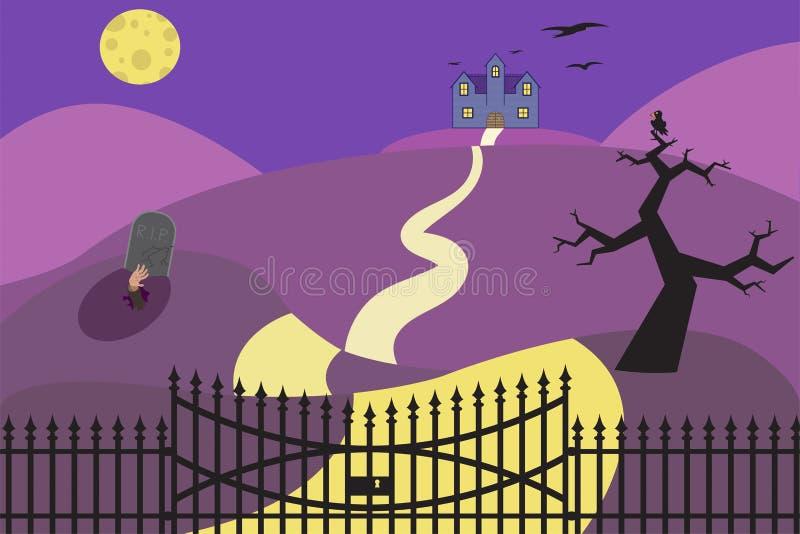 Vector illustration of halloween haunted house on dark yard royalty free stock image