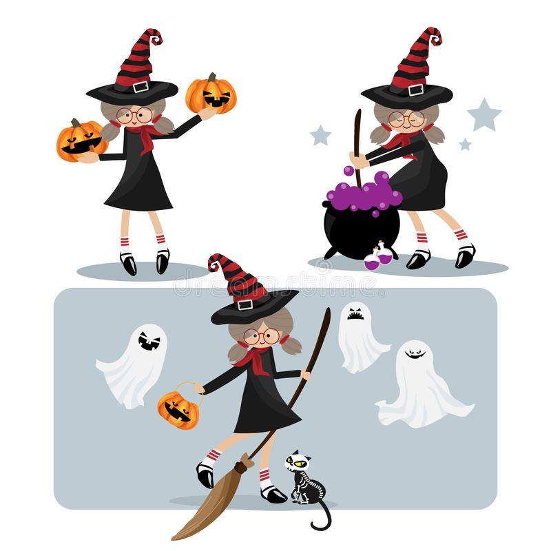 Halloween little witches with Halloween elements collection vector illustration