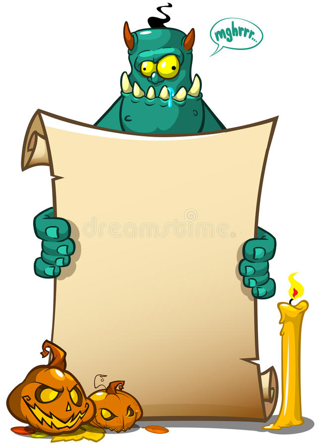 Vector illustration of a Halloween monster character holding a scroll sign or banner. royalty free illustration