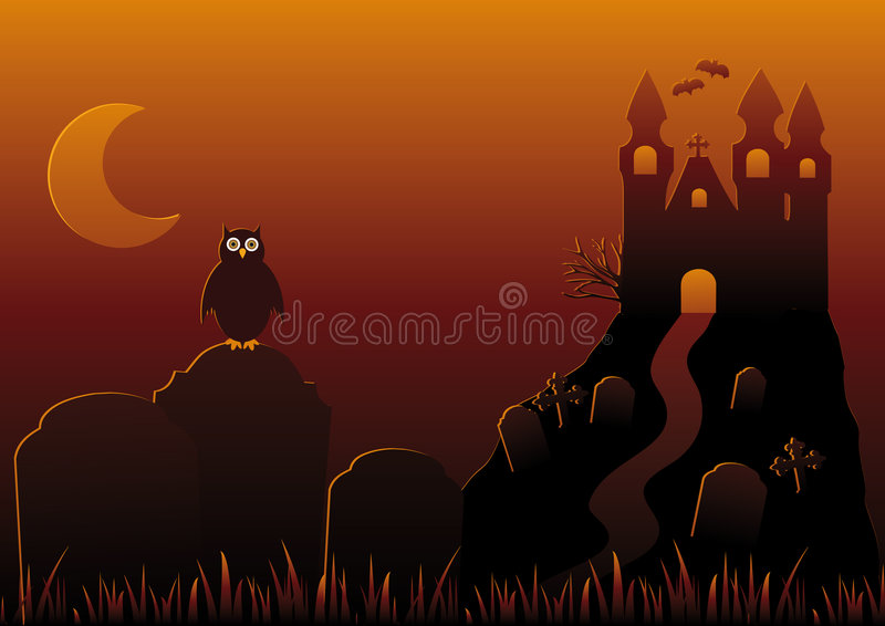 Vector Illustration of Halloween Night royalty free stock image