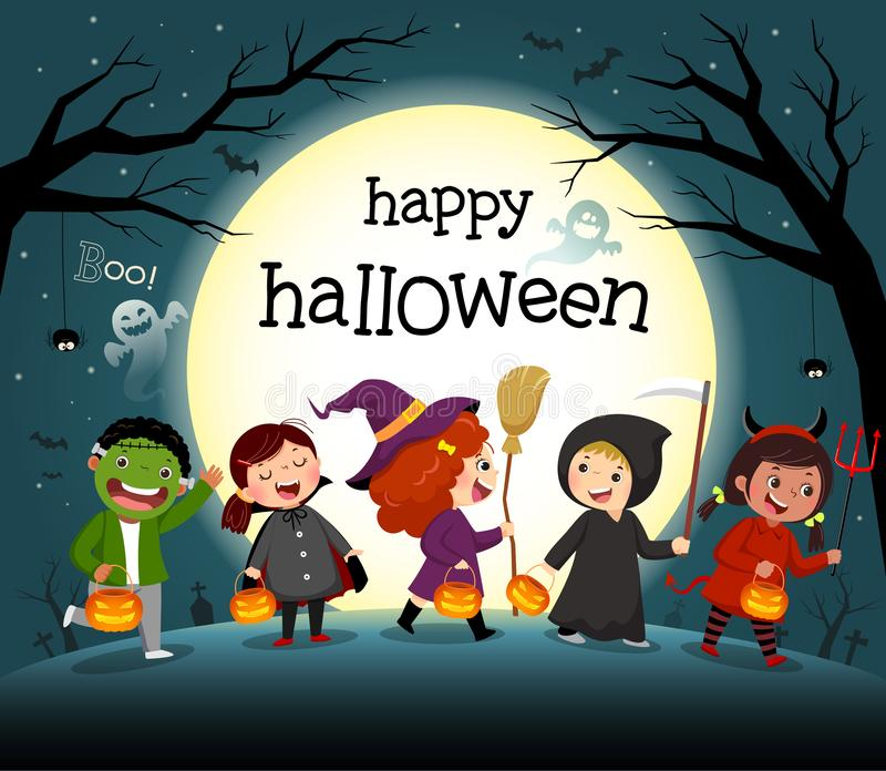 Halloween night background with group of kids in costume party vector illustration