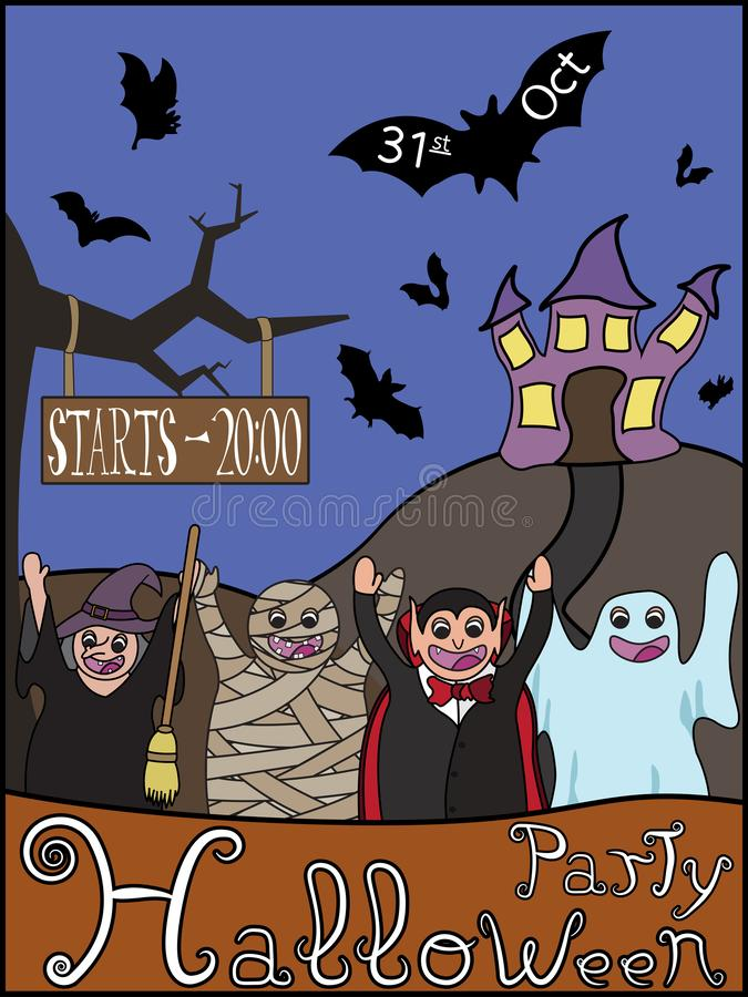 Halloween party invitation with cartoon characters and haunted house stock images