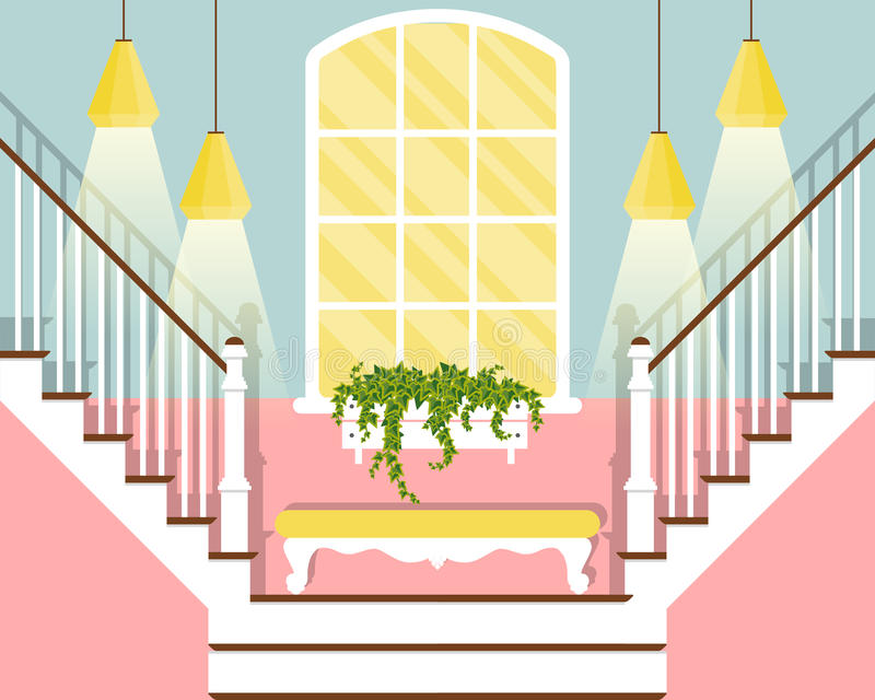 Vector illustration with hallway stairs in flat style stock illustration