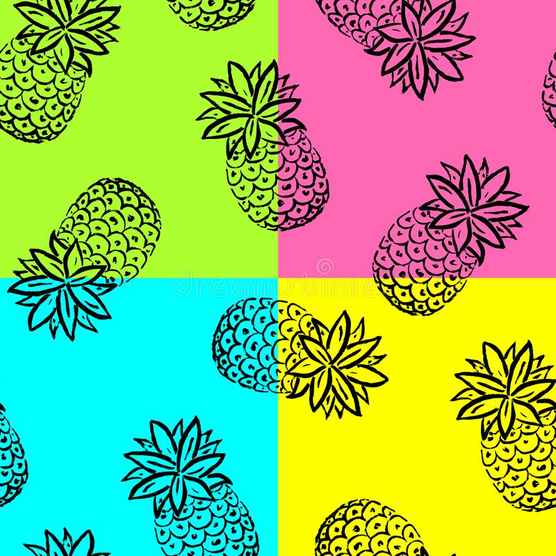 Hand draw pineapple background. vector illustration
