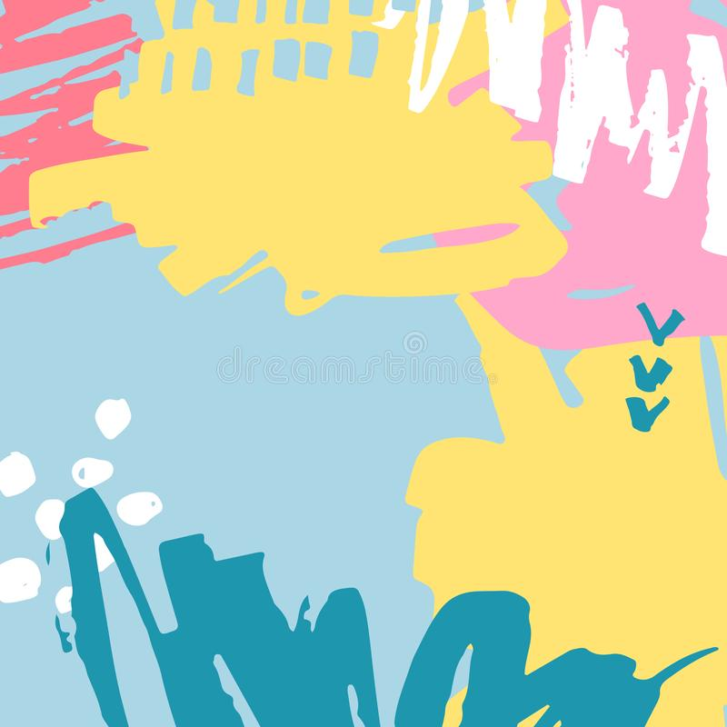 Vector illustration, hand drawn abstract background with paint blots vector illustration