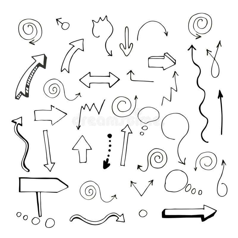 Vector illustration. EPS. Set. Badges. Vector illustration. Hand-drawn arrows pointing in different directions. Set. Badges. Black and white. EPS vector illustration