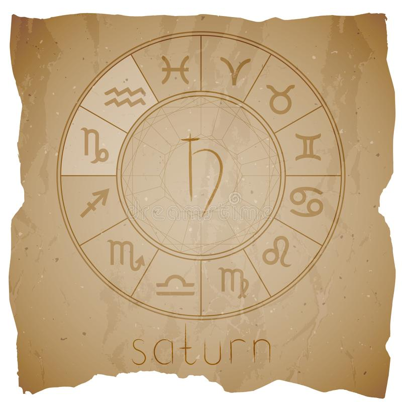 Vector illustration with Hand drawn astrological planet symbol SATURN on a grunge old background. With torn edge. Sepia royalty free illustration