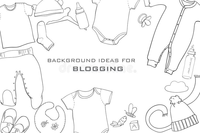 illustration of hand drawn baby clothes flat lay coordination on