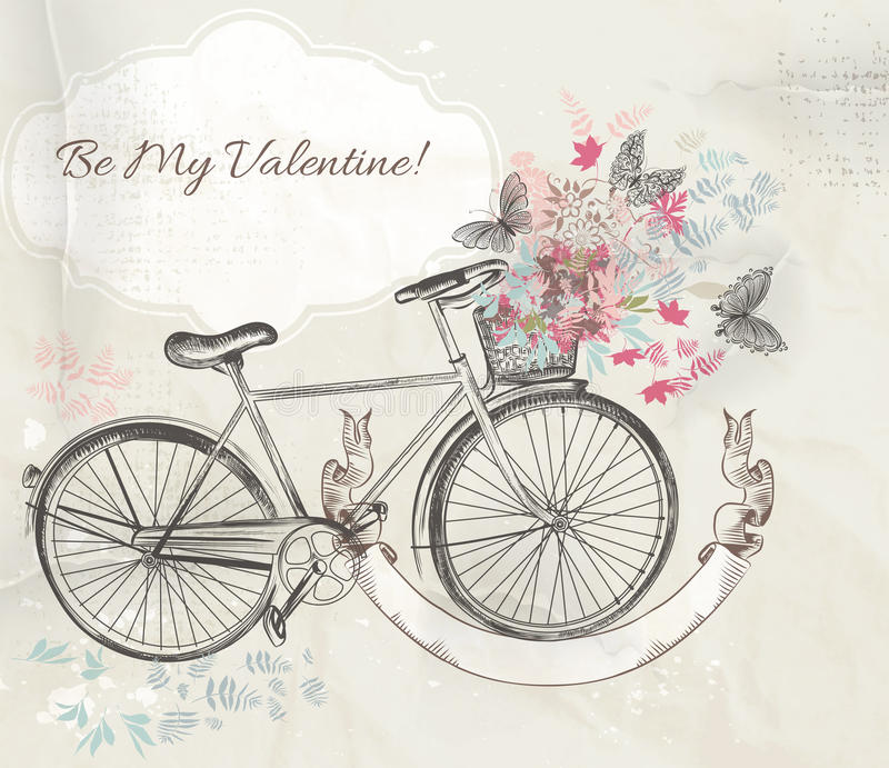 Vector illustration with hand drawn bicycle and flowers vector illustration