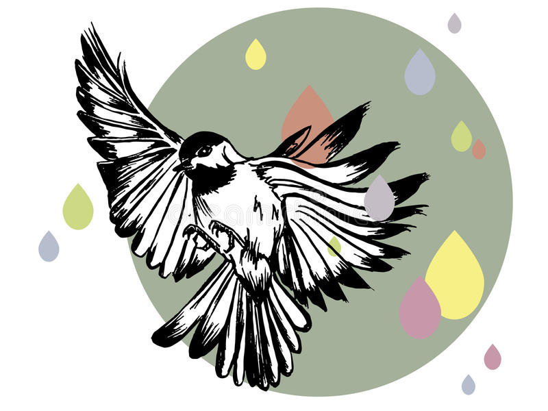 Vector illustration of a hand drawn bird stock images