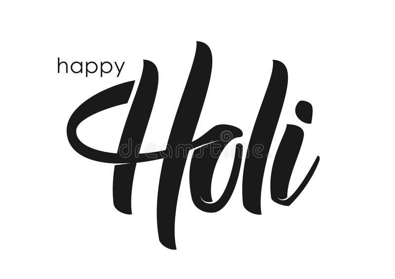 Vector illustration: Hand drawn brush lettering of Happy Holi on white background. royalty free illustration