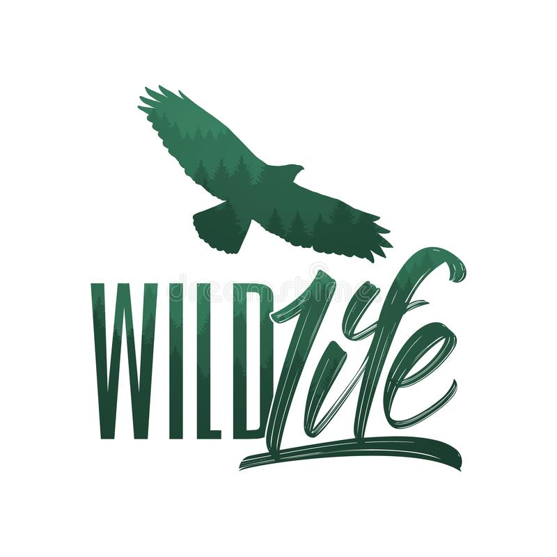 Vector illustration: Hand drawn brush lettering of Wild Life with forest silhouette of eagle vector illustration