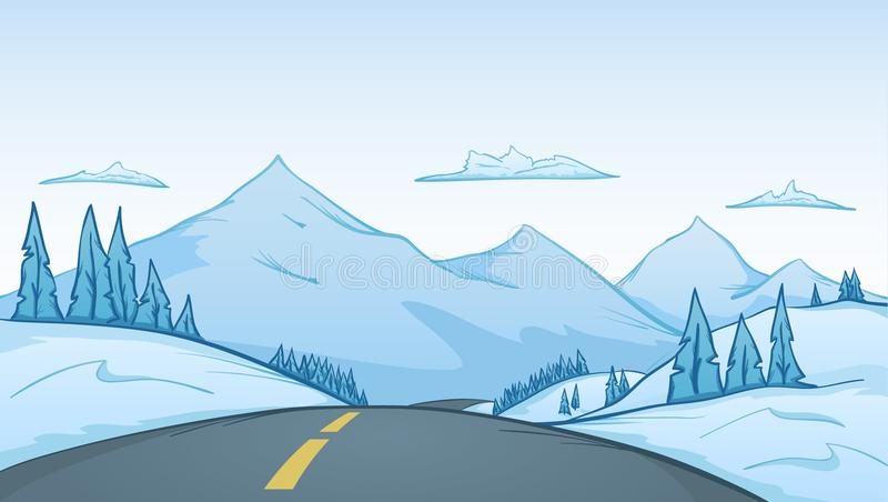 Vector illustration: Hand-drawn cartoon winter landscape with road on foreground and mountains on background stock illustration