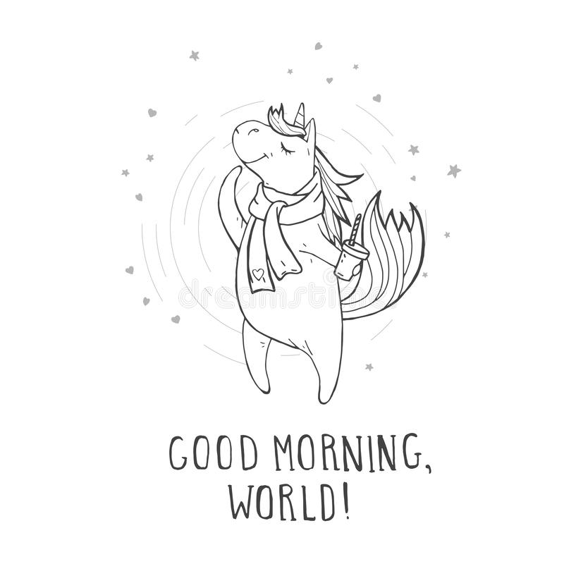 Vector illustration of hand drawn cute unicorn in scarf with coffee, hearts and text – GOOD MORNING, WORLD! vector illustration