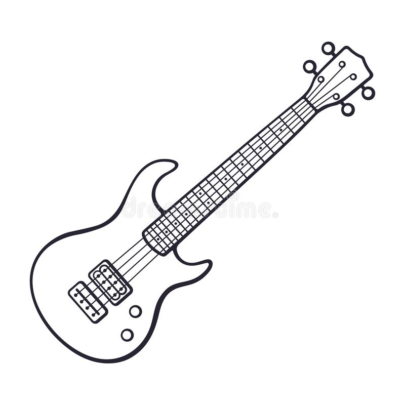 Doodle of rock electro or bass guitar vector illustration
