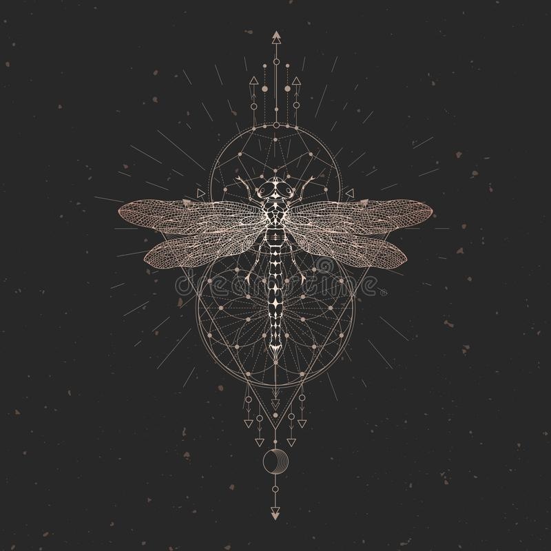 Vector illustration with hand drawn dragonfly and Sacred geometric symbol on black vintage background. Abstract mystic sign. Gold vector illustration