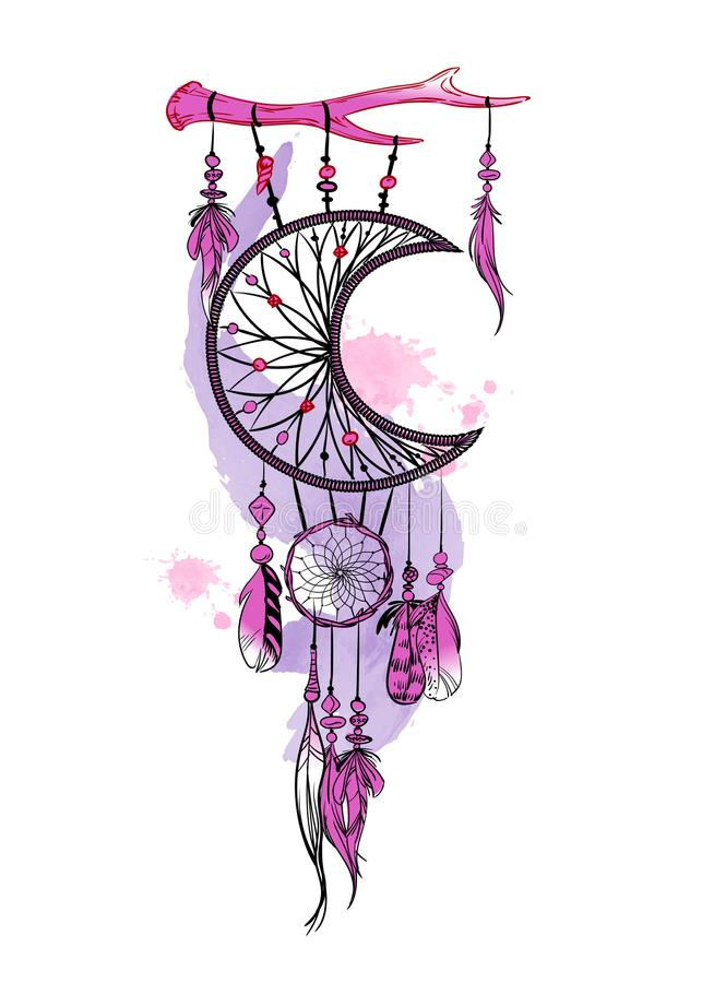 Vector illustration with hand drawn dream catcher and watercolor stains. Feathers and beads. Vector illustration with hand drawn dream catcher and watercolor vector illustration
