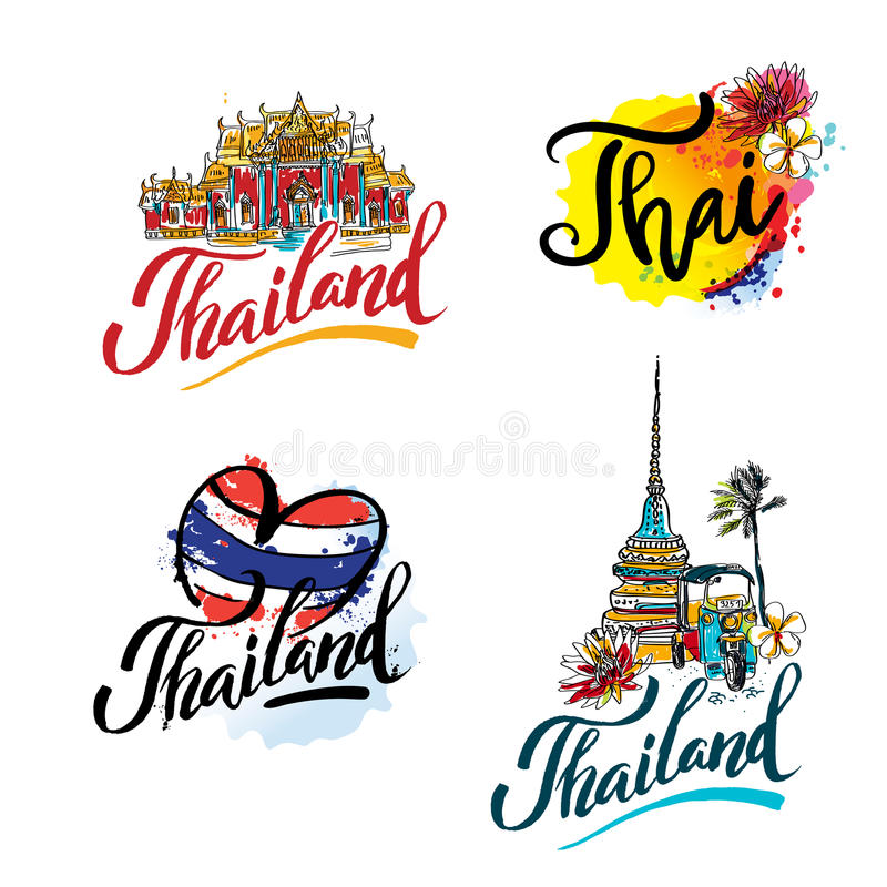 A vector illustration of hand drawn elements for traveling to Thailand, concept Travel to Thailand. Lettering logo set stock illustration