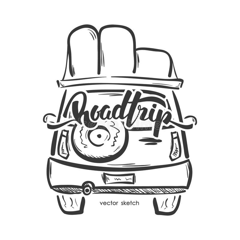 Vector illustration: Hand drawn emblem with travel car and handwritten lettering of Road Trip. Sketch line design stock illustration