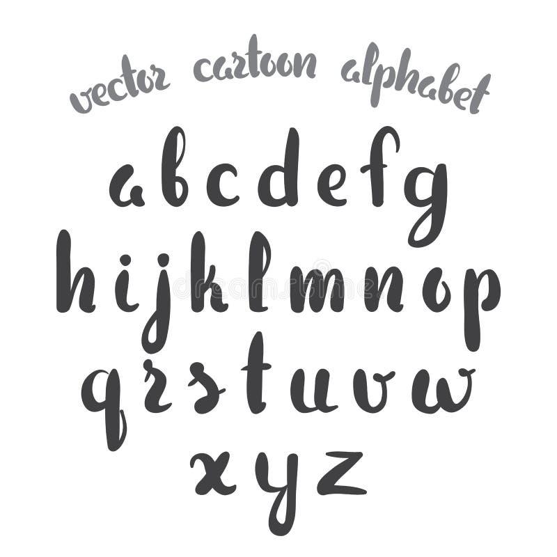 Vector illustration: Hand Drawn English alphabet letters isolated on white background. Modern brush lettering royalty free illustration