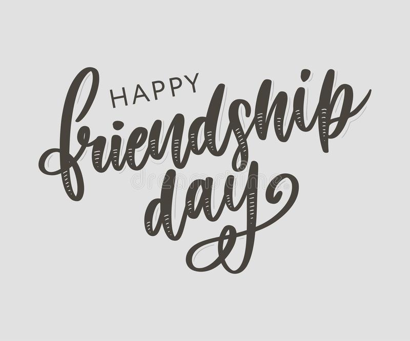 Vector illustration of hand drawn happy friendship day felicitation in fashion style with lettering text sign and color triangle. Background, card, celebration stock photo