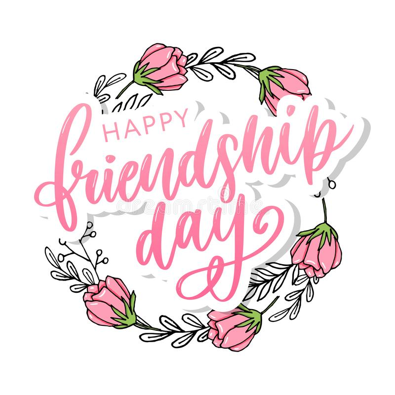 Vector illustration of hand drawn happy friendship day felicitation in fashion style with lettering text sign and color triangle. Background, card, celebration royalty free illustration