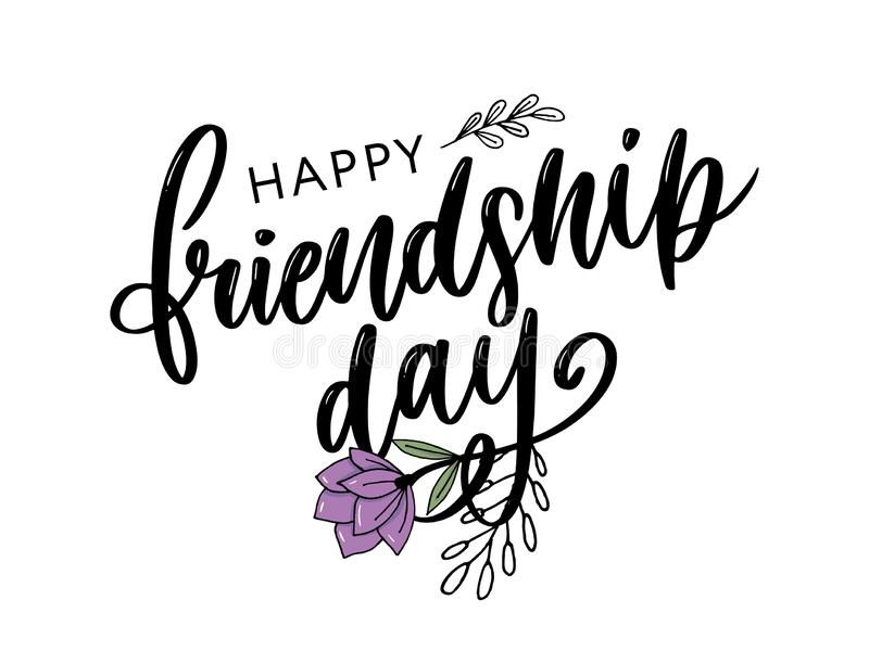 Vector illustration of hand drawn happy friendship day felicitation in fashion style with lettering text sign and color triangle. Background, card, celebration stock illustration