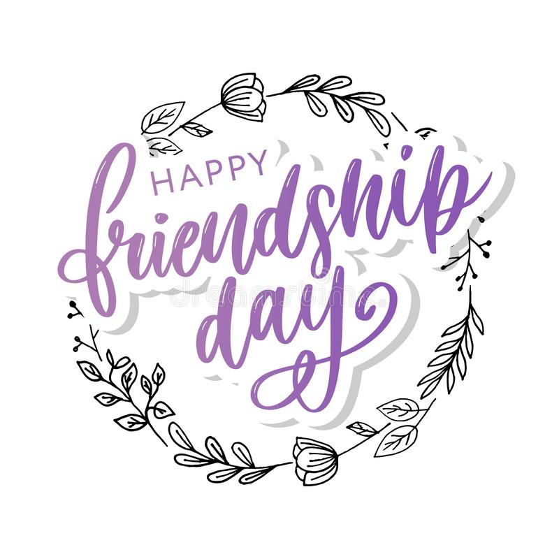 Vector illustration of hand drawn happy friendship day felicitation in fashion style with lettering text sign and color triangle. Background, card, celebration stock image