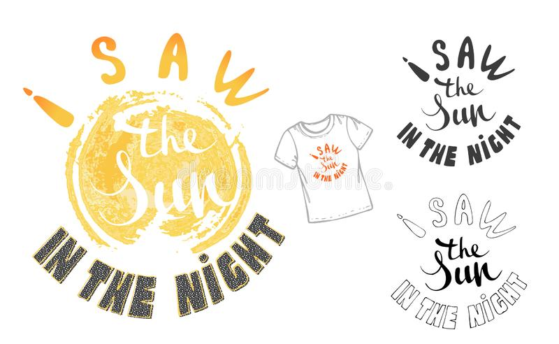 Vector illustration: Hand drawn lettering composition of Hello Summer with doodle sun. Handwritten calligraphy design royalty free illustration