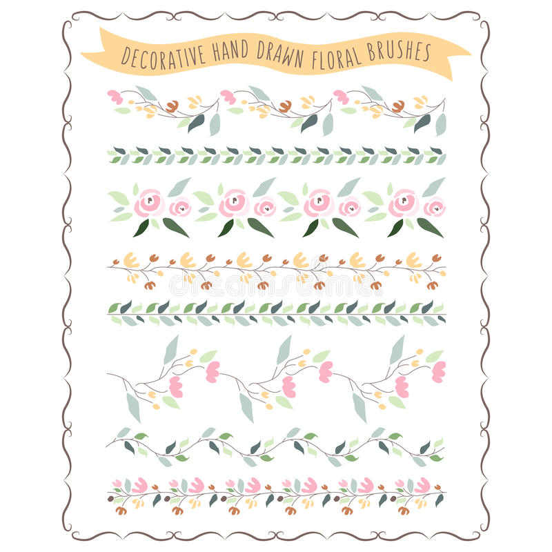 Vector illustration of hand drawn pastel flower and floral brush royalty free illustration