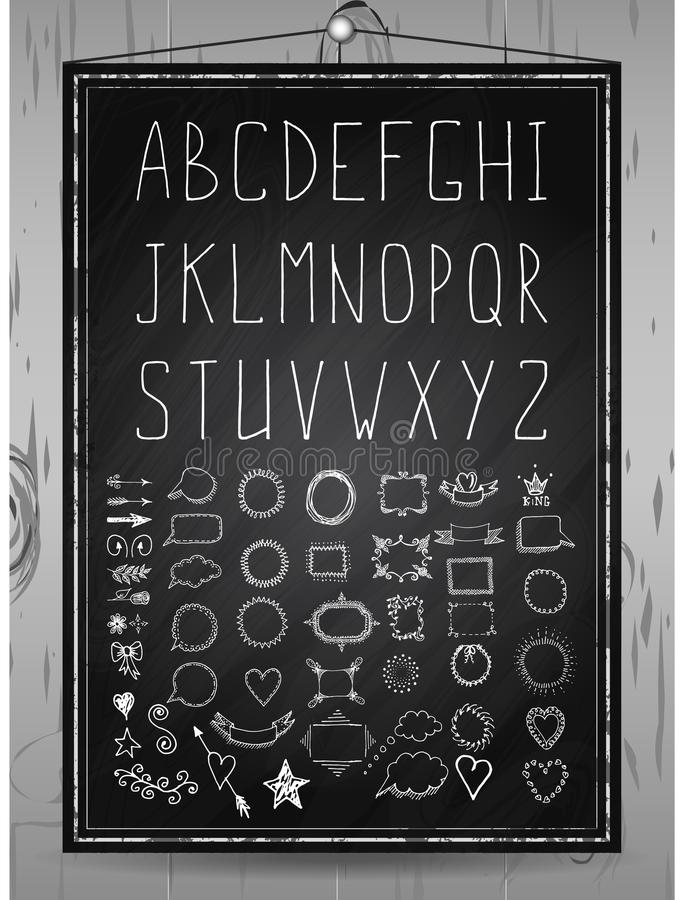 Hand drawn rustic font, chalcboard alphabet and set of hand drawn frames, dividers, borders decorative elements on wood background vector illustration