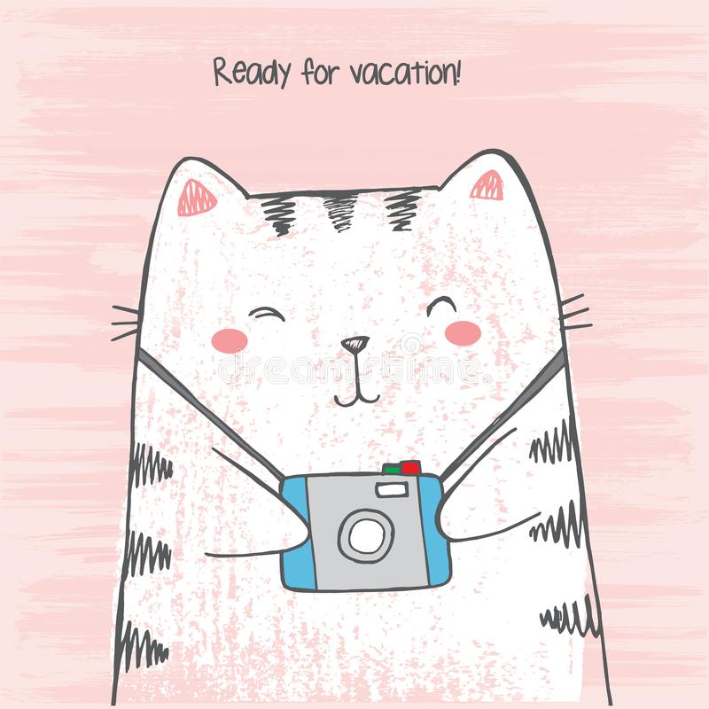 Vector illustration of hand drawn sketch crtoon white cat hugs his photo camera on scratched grunge pink background peeking out stock illustration