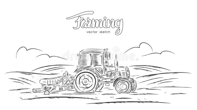 Vector illustration: Hand drawn sketch with tractor on field royalty free illustration