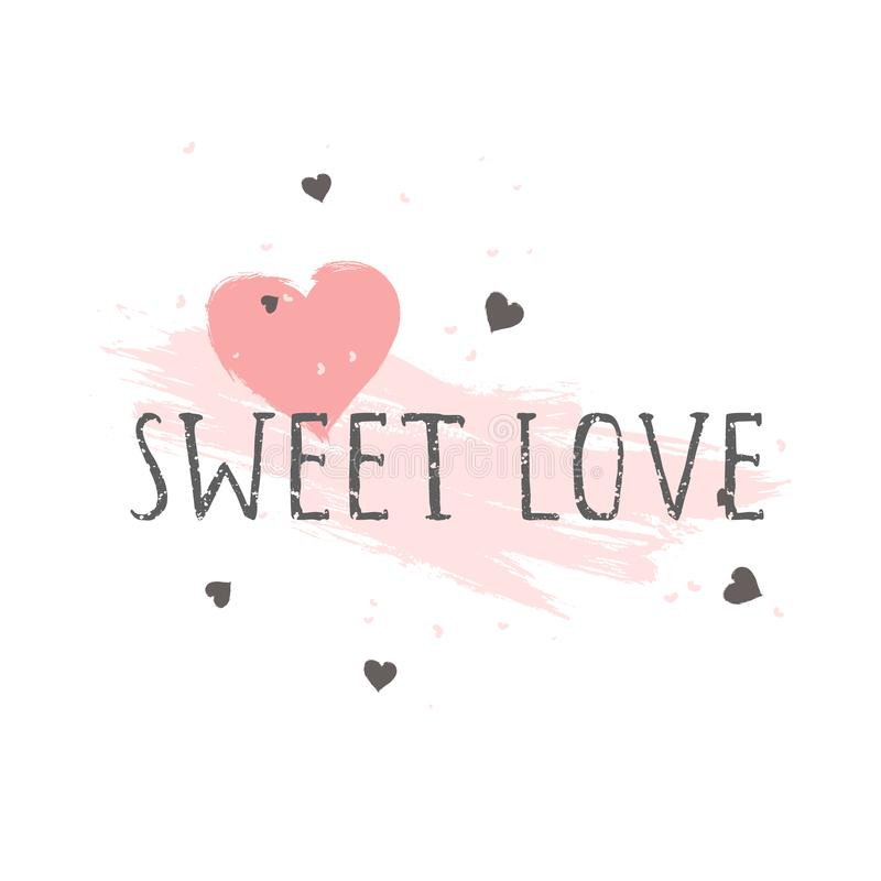 Vector illustration with hand drawn text SWEET LOVE and grunge hearts on white background royalty free illustration