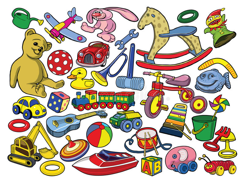 Vector Illustration Of Hand Drawn Toys Stock Photography