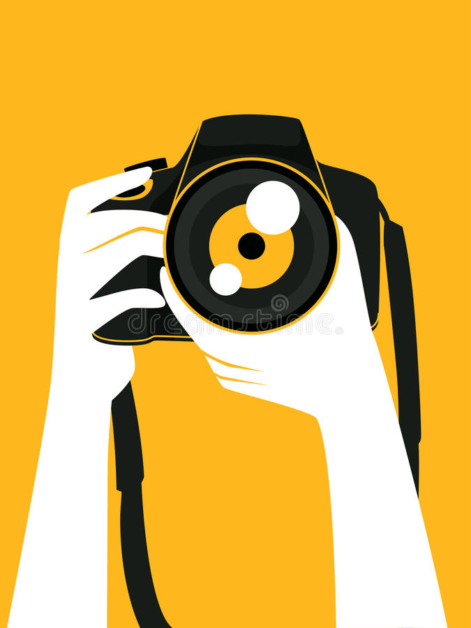 Hand Holding a Digital Camera taking a Picture vector illustration