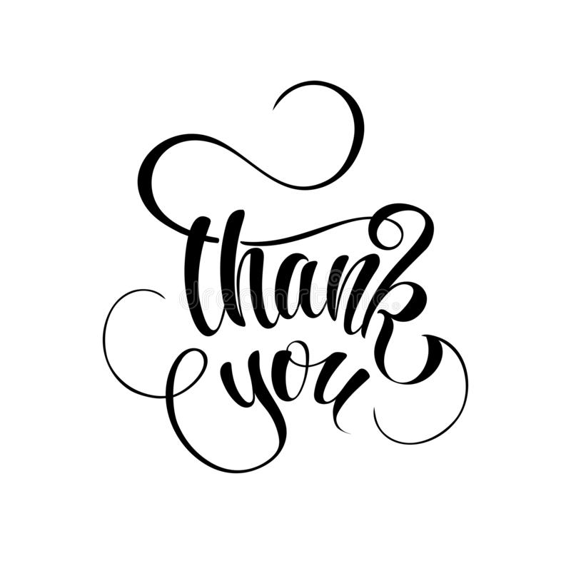 Vector illustration with hand lettering - Thank you vector illustration