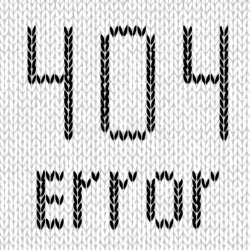 Vector illustration of hand made knitted web site 404. Error, page not found, in black and white royalty free illustration