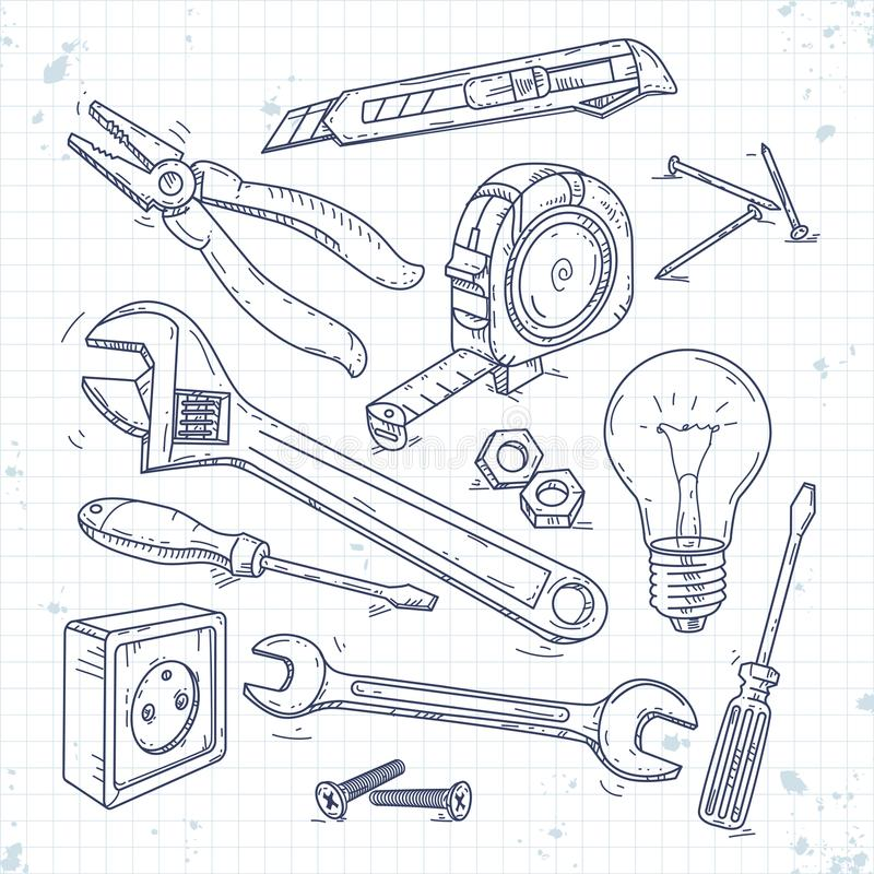 Hand sketch icons set of carpentry tools, pliers, screwdriver, light bulb and the wrench stock illustration