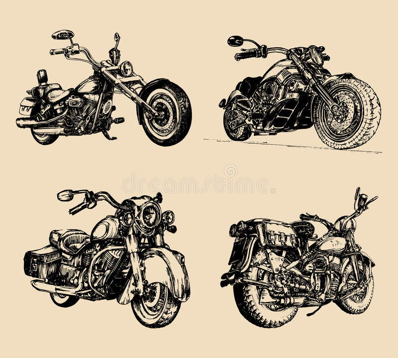 Vector illustration of hand sketched vintage motorcycles.Detailed drawings for custom bikes companies,chopper stores etc royalty free illustration