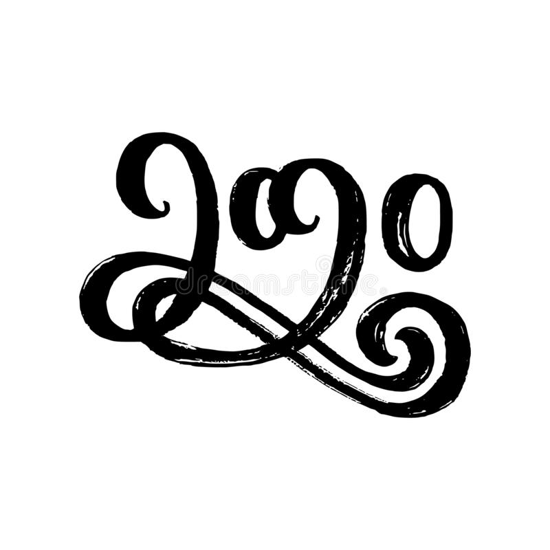 2020 hand drawn lettering royalty free illustration