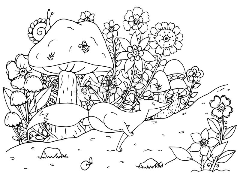 Vector illustration of handmade work, zentangl fox and forest. Doodle drawing. Coloring page Anti stress for adults. Black and white vector illustration
