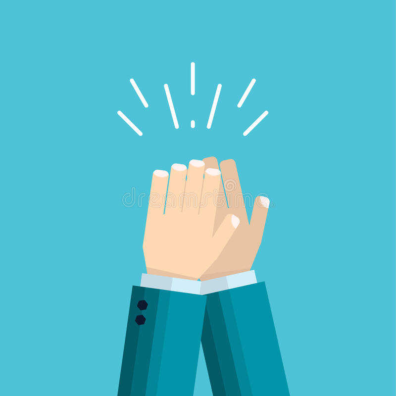 Vector illustration of hands clap - applause of male hand. In suit. Concept of the celebration and approval in flat style royalty free illustration