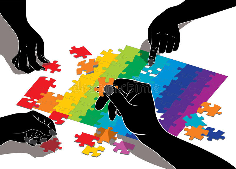 Vector illustration of hands composing puzzle.