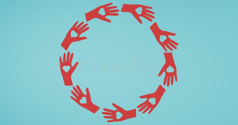 Vector illustration of hands forming circle with heart shapes. On turquoise background royalty free stock image