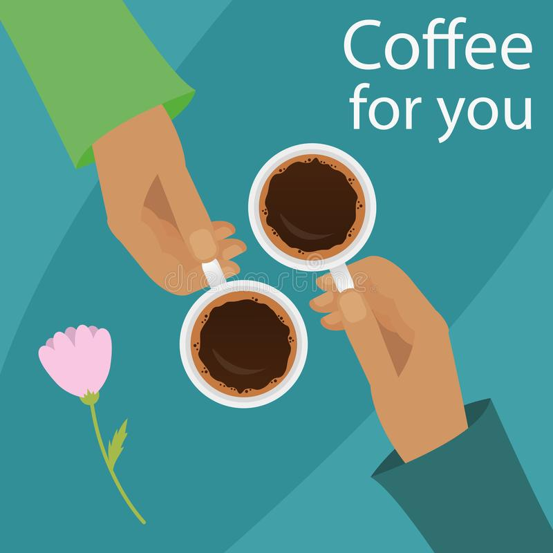 Vector illustration of hands holding cup of coffee. Coffee time, coffee break for couple concept in flat style. vector illustration