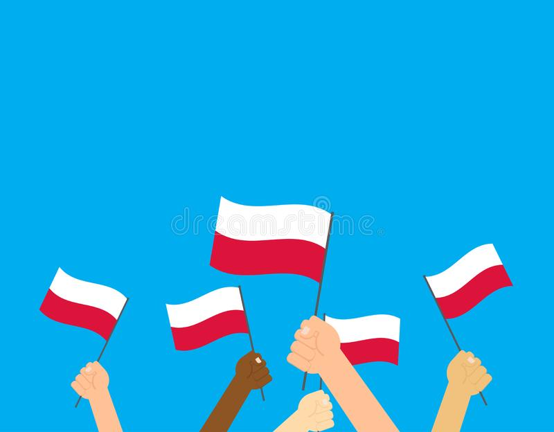 hands holding Poland flags stock illustration