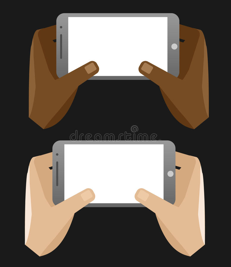 Vector illustration of hands holding smartphone horizontal royalty free stock photo